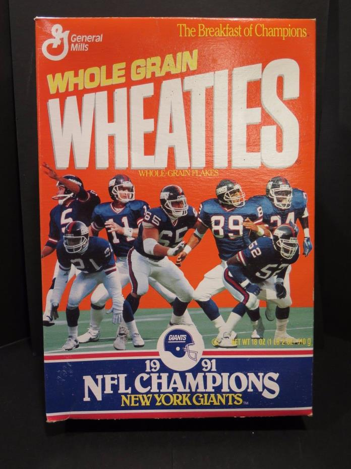 1991 NFL Champions New York Giants Wheaties box UNOPENED TOP NEW JERSEY FOOTBALL