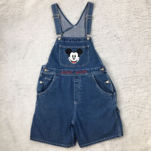 The Disney Store Womens Denim Overalls Mickey Mouse Disney Large