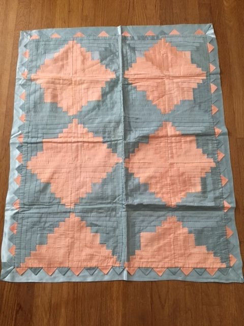 Antique Satin Log Cabin Crib Quit Hand-Made Peach Pink Blue Triangle Border