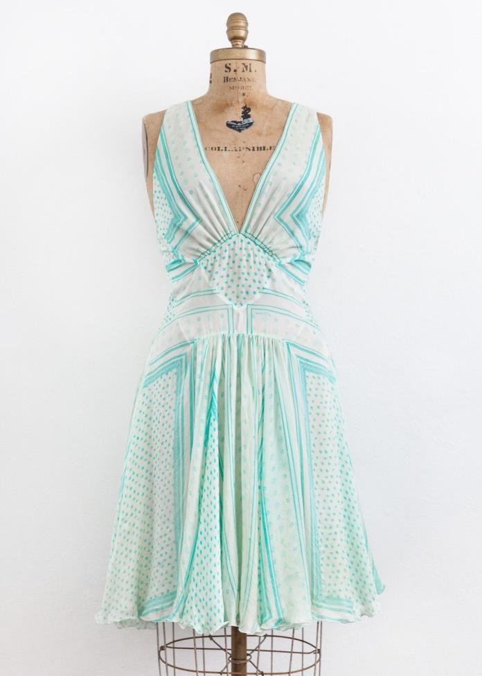 Roberto Cavalli Blue White Silk Floral Print Open Back Sleeveless Dress