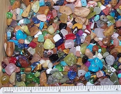 LOT Of 50 Mixed GEMSTONE Medium Small Chip BEADS