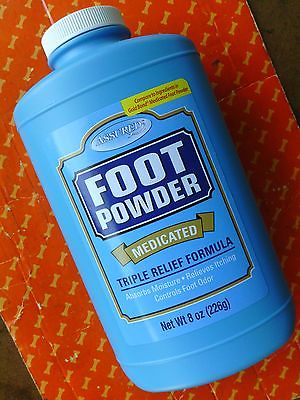 MEDICATED FOOT POWDER - triple relief formula - itching odor moisture - 8 oz