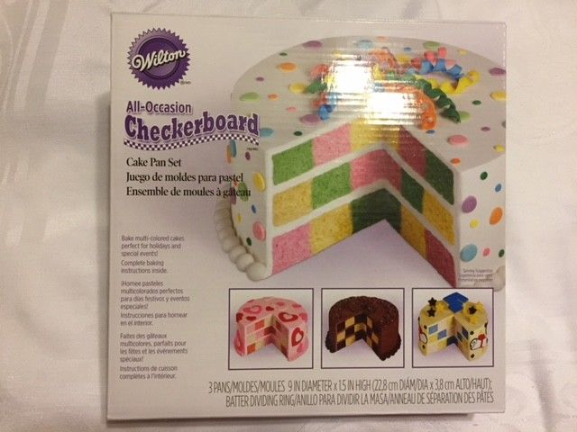 Wilton All Occasion Checkerboard Cake Pan Set Nonstick Steel & Plastic Ring-New