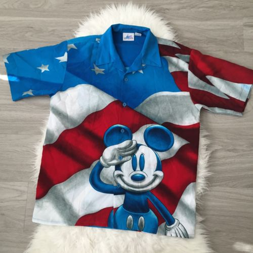 Disneyland Resort Mickey Mouse American Flag Salute Button Up Shirt Veteran Sz M