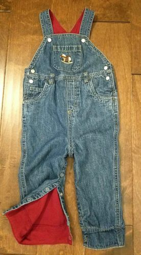 Boys Vintage Gymboree Denim Bib Overalls Red Fleece Lined 12-18 months Horse
