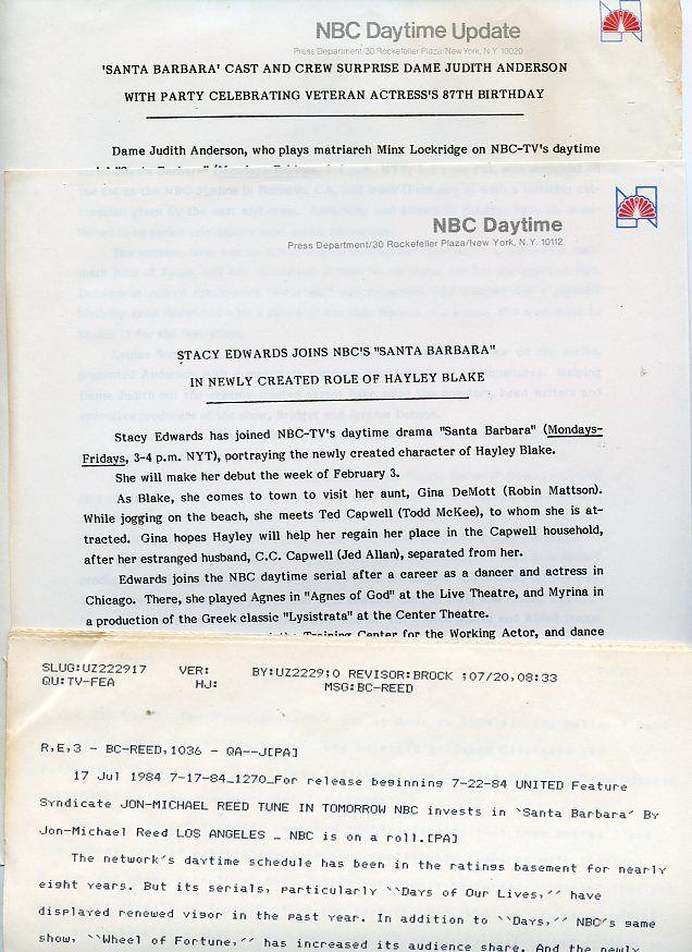 DAME JUDITH ANDERSON SANTA BARBARA RARE ORIGINAL 1986 NBC TV PRESS MATERIAL