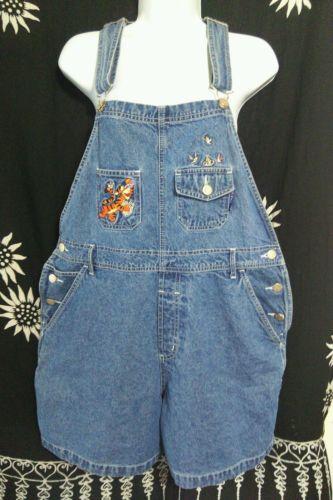Disney Winnie the Pooh Tigger Overall Bib Shorts Denim Jeans Women's Sz L