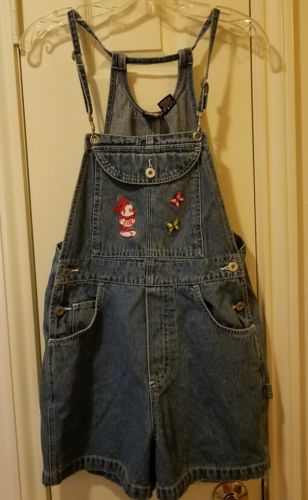 Mickey Unlimited womens M Shorts Overalls Embroidered Minnie Mouse Denim Jean
