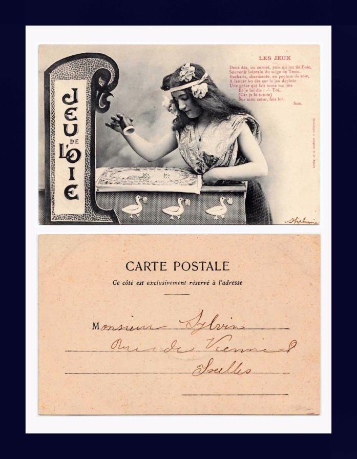 GAMBLING JEU DE L'OIE DICE GAME UNDIVIDED BACK POSTCARD PUBLISHED CIRCA 1905