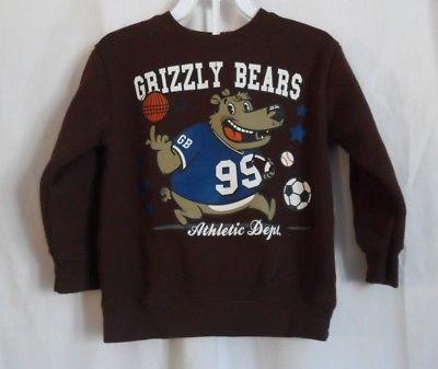 BOYS 3T BROWN GRIZZLY BEARS SPORTS SWEATSHIRT EUC ~ GARANIMALS
