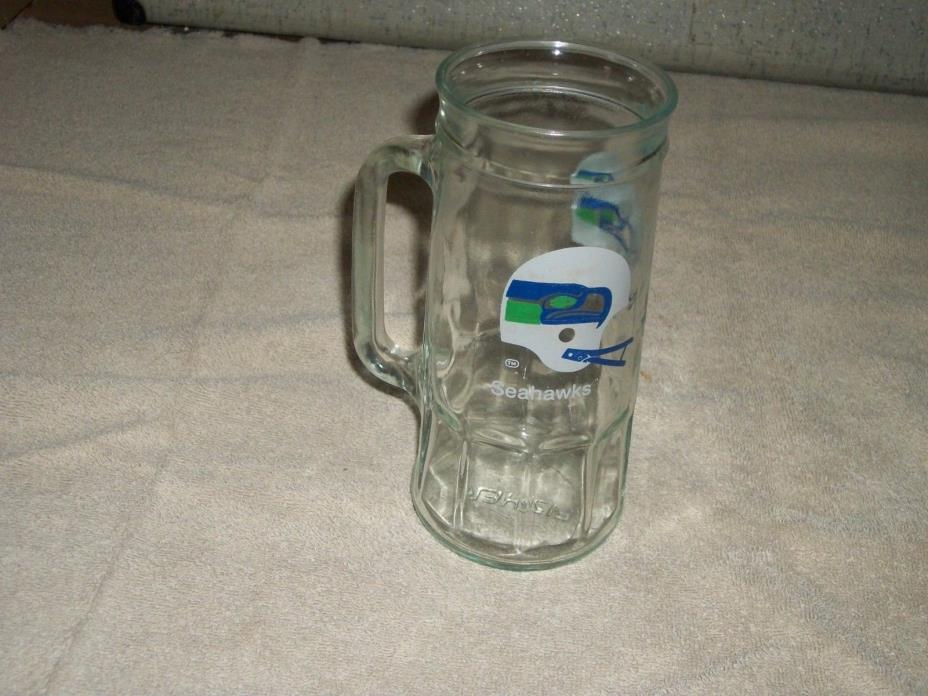 Vintage SEATTLE SEAHAWKS  FOOTBALL Fisher Peanut NFL Collector Mug beer GLASS