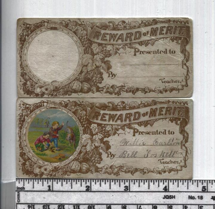 Antique Reward of Merit - Rare Set of Add-Ons - With & Without Cut Out Picture
