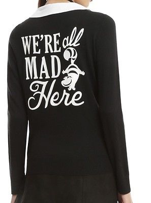 DISNEY ALICE IN WONDERLAND CHESIRE CAT WE'RE ALL MAD HERE CARDIGAN SWEATER TOP M