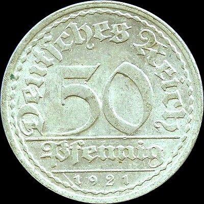 1921 'A'  Germany 50 Pfennig Coin