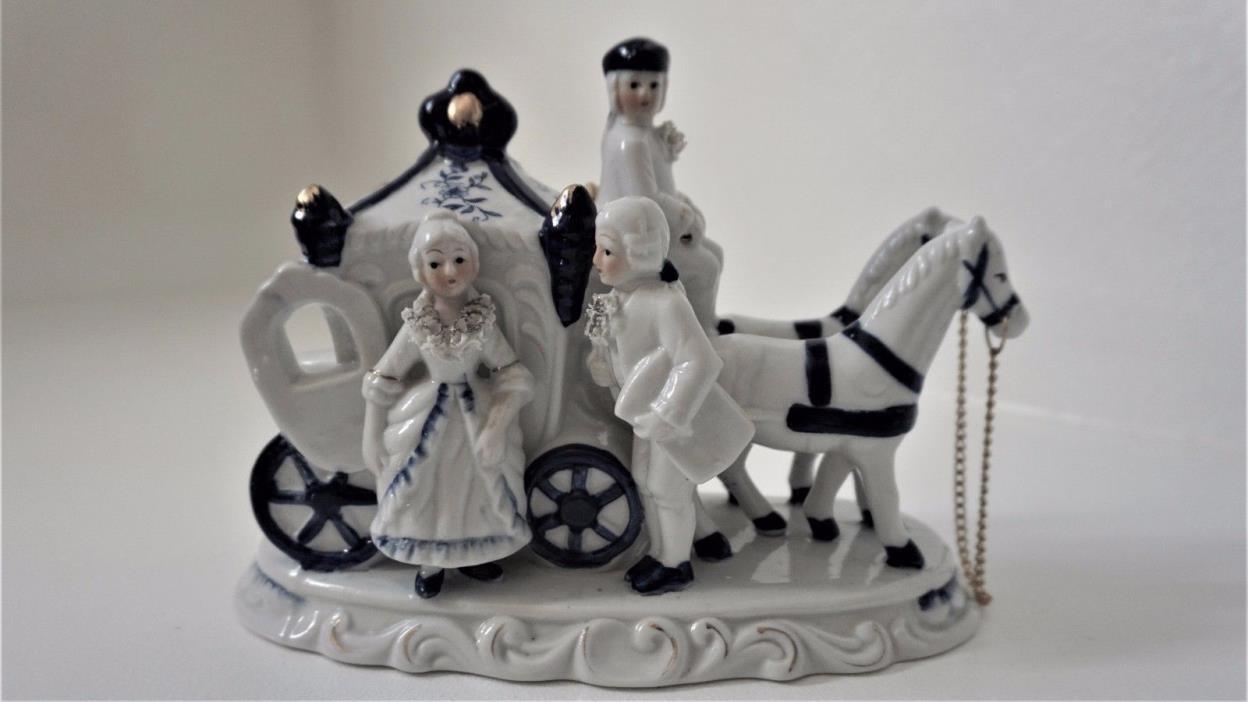 Vintage Porcelain Figurine Horse & Carriage  Victorian Couple Cobalt Blue/White