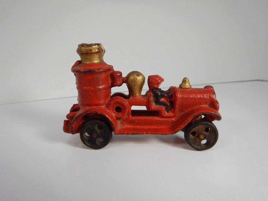 Antique Vintage Cast Iron Fire Truck Toy Toys Collectible