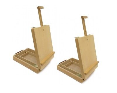 Set of 2 DESKTOP ARTIST EASELS WOODEN PORTABLE COMPACT STAND Drawing Painting