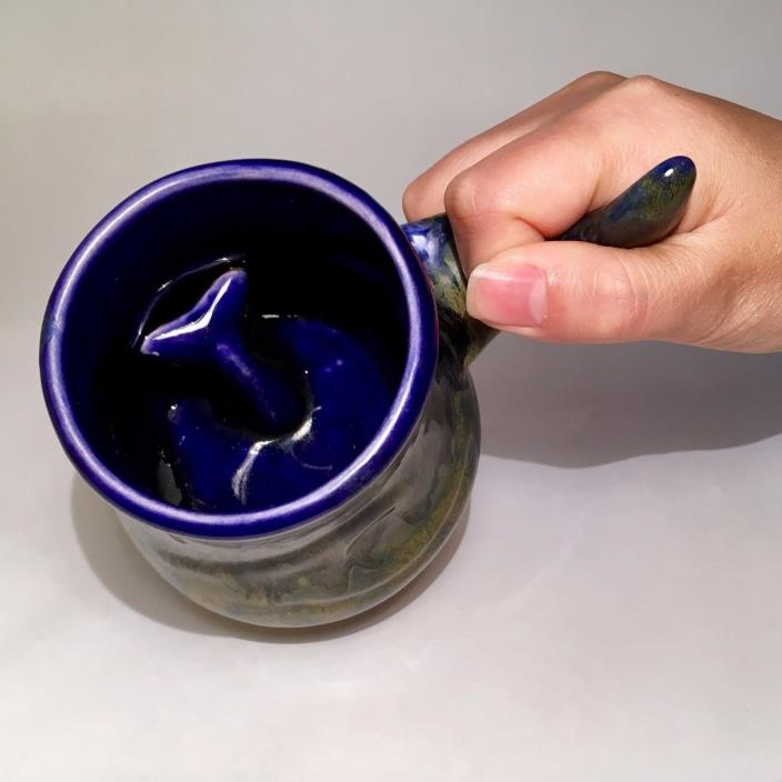 Rare Doug Wylie Whale Interior Inside Tail Mug Ocean Cobalt Blue Art Pottery