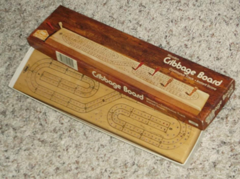 Vintage 1974 Milton Bradley Wood Continuous Track Cribbage Board w/pegs & Box