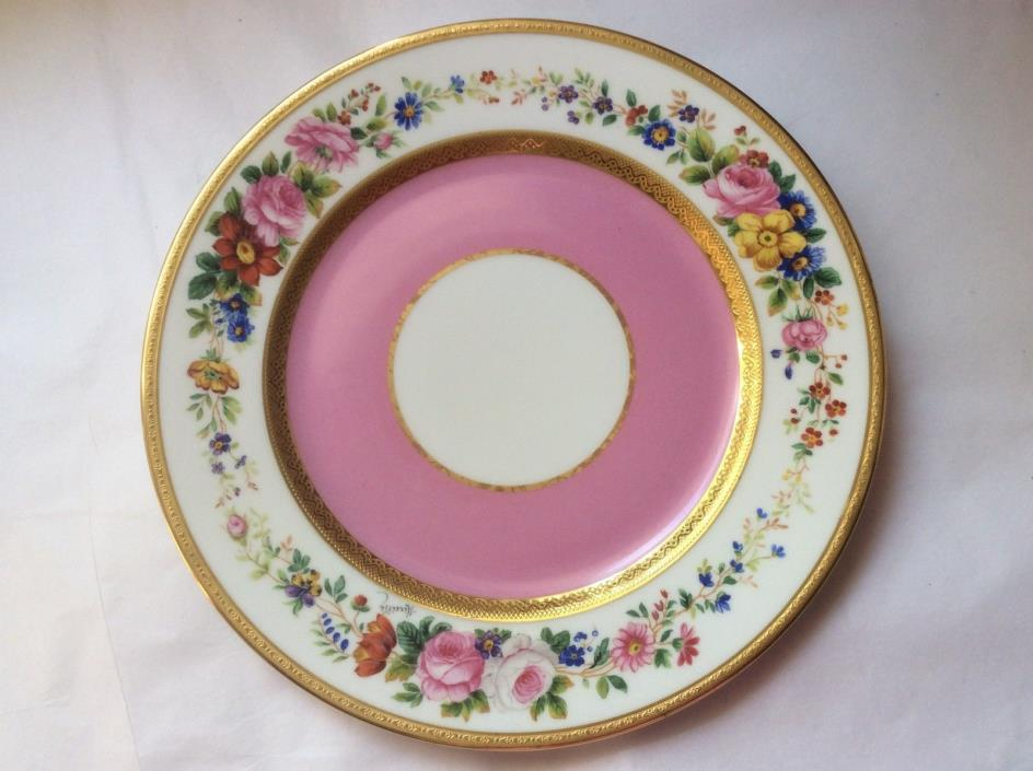 Antique C. Ahrenfeldt Limoges Pink & Gold Cabinet Plate c.1890, p77 GIFT QUALITY