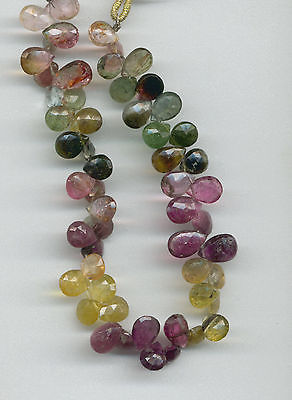 FACETED TOURMALINE BRIOLETTE BEADS - 675A - 8