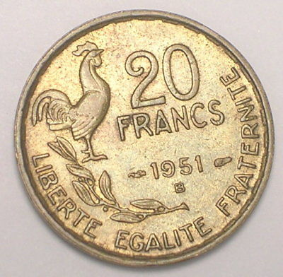1951 B France French 20 Francs Rooster Coin XF