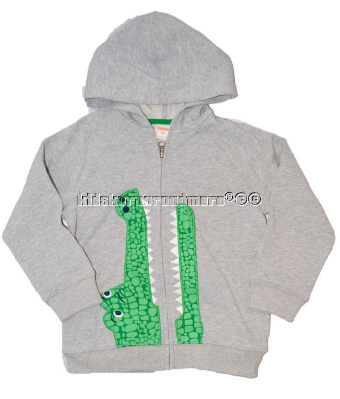 Gymboree Outdoor Explorer 4T Gray Alligator Hoodie Jacket Zip up