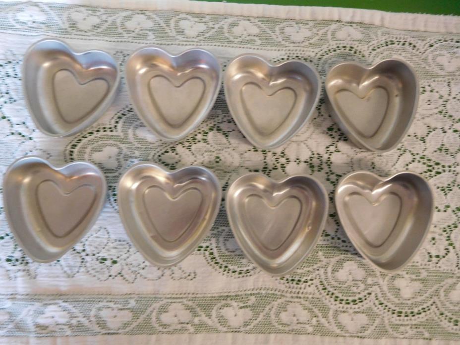 Set of 8 Individual Vintage Petite Heart Shaped Cake Pans Molds Aluminum
