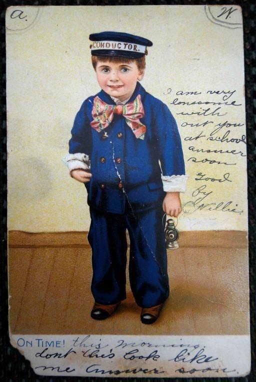 1908 RAILROAD TRAIN CONDUCTOR victorian boy TUCK rppc