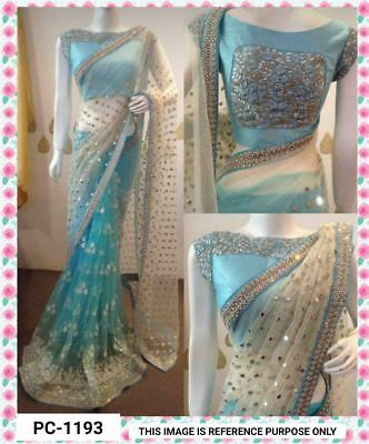 Beautiful Bollywood Designer Saree with Embroidery Work Wedding Wear Sari PC1193
