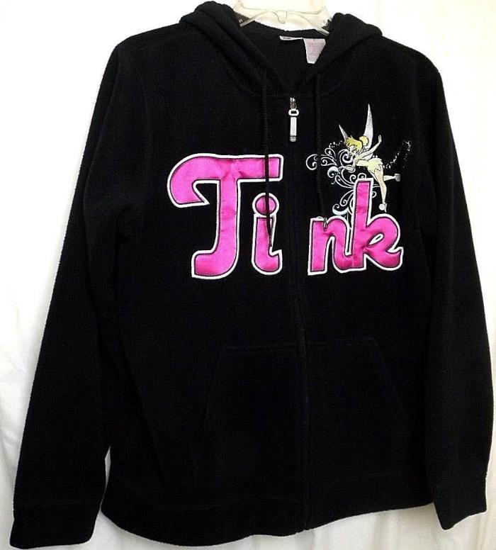 Tinkerbell Fleece Jacket Full Zip Hoodie Black TINK Walt Disney Sz L