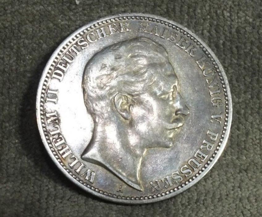 1909 A German States Prussia Silver 3 Mark . 4823 oz VF XF C18