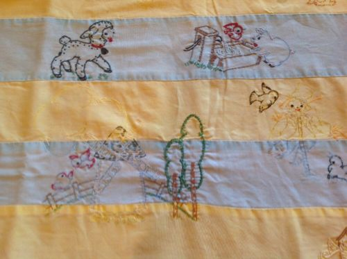 Antique Vintage Embroidered Farm Baby Quilt/Throw