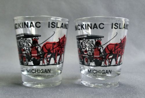 2 Mackinac Island Michigan Travel Souvenir Shot Glass