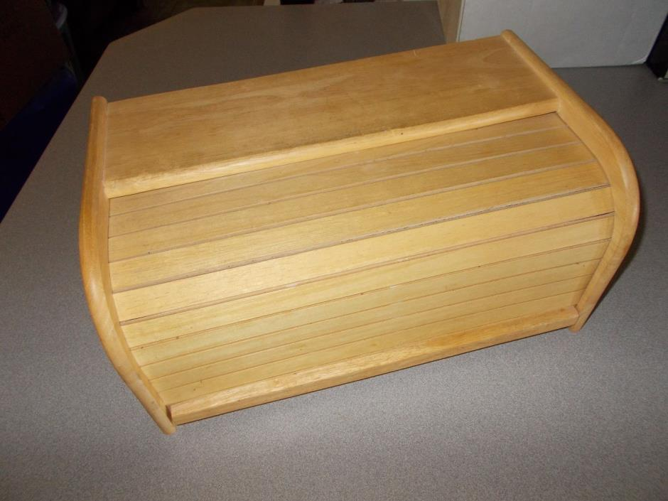 Quality Kamenstein wooden roll top style crafted natural wood bread box used