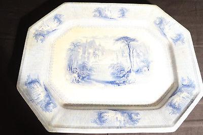 ANTIQUE PLATE/PLATTER WHITE + BLUE IRONSTONE SIAM J. CLEMENTSON FLOW BLUE 16