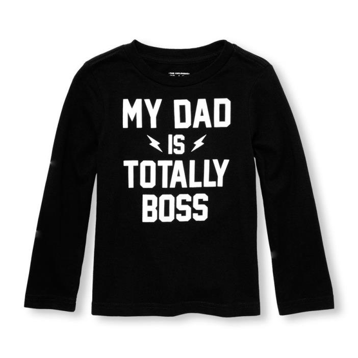 NWT CHILDREN'S PLACE SHIRT, LONG SLEEVE, GRAPHIC, DAD BOSS, BLACK, 2T