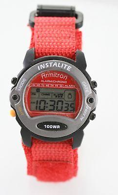 Armitron Watch Mens Black Gray Digital Chrono Red Nylon Light Date Alarm Quartz