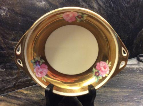 Stunning Vintage Hand Painted Gold NORITAKE Porcelain Candy Dish 7-1/2