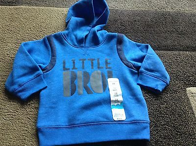 Infant boys Jumping Beans LITTLE BRO hooded sweatshirt size 12 months(NWT)