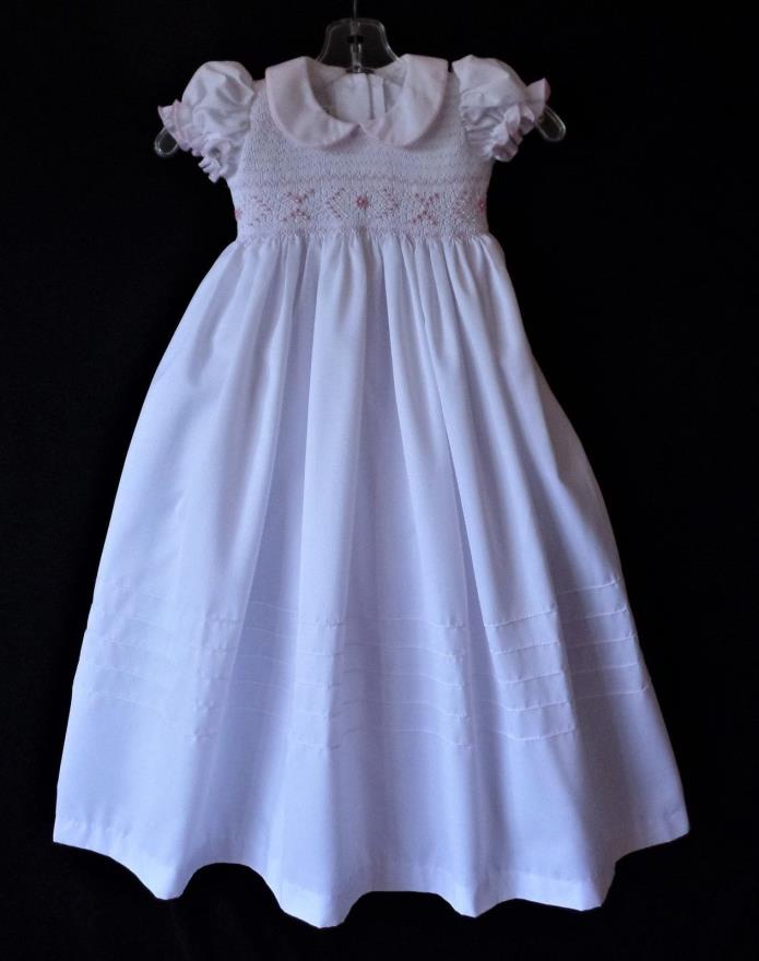 Amzi White Polyester Cotton Christening Gown Pink Smocking Pearl Beading