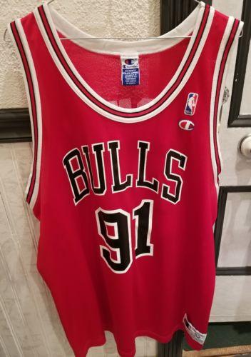 VTG 90s NBA Champion Chicago Bulls Dennis Rodman Jersey 91 Red 52 Jordan Pippen