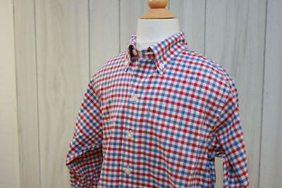 LANDS END NWOT Boys L/Sleeve Gingham Polo in Red/White/Blue SZ 5