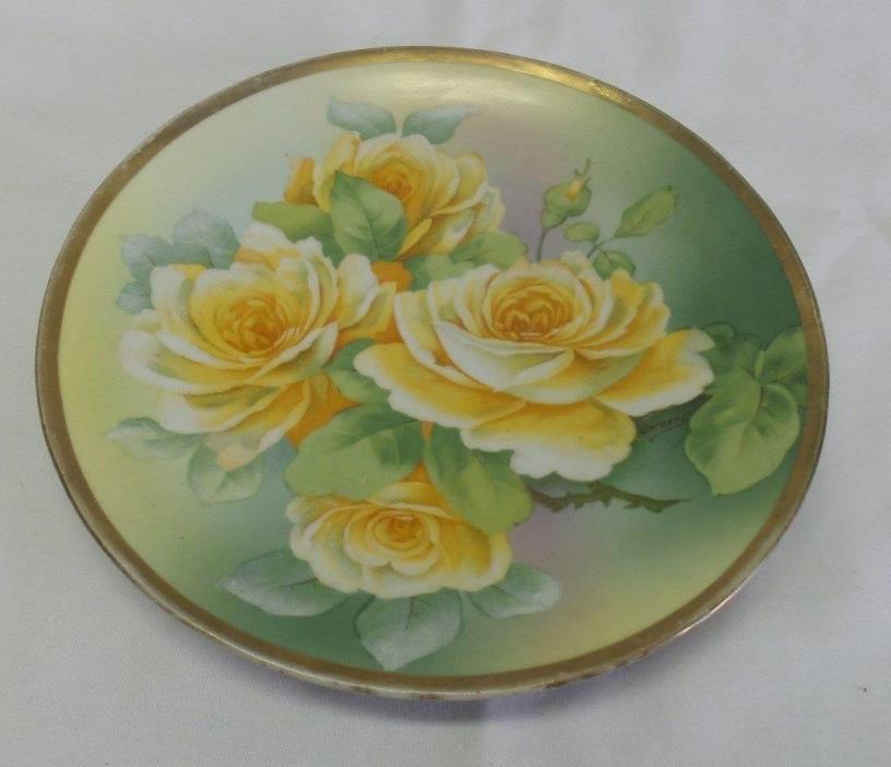 Antique O&E G Royal Austria Hand Painted Porcelain Plate Yellow Roses LaPorte