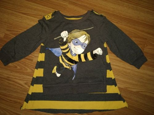 Baby Boys BumbleBee Boy Long Sleeve Shirt With Detachable Cape 2t Unique! Nwot