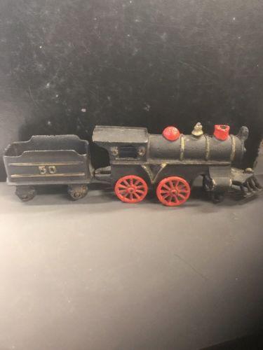 Antique Cast Iron Toy Train Steam Locomotive Engine & Tender Coal Car #50