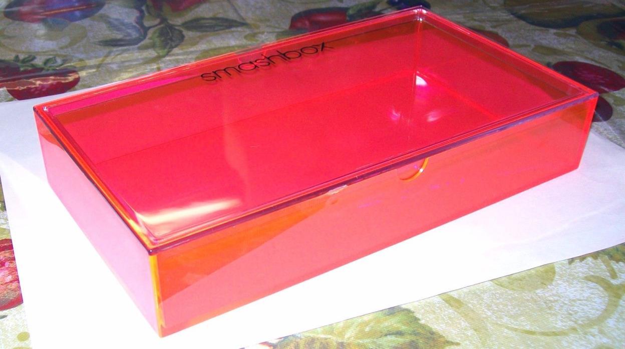 SMASHBOX Makeup Jewelry Plastic Tin Box Organizer Pink 8 1/2