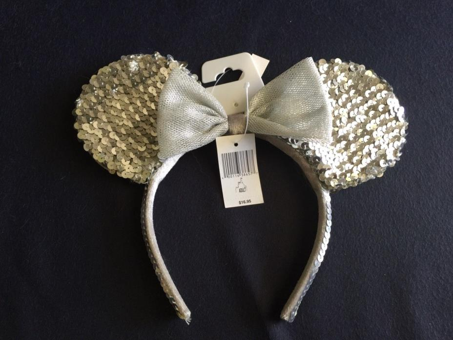 Minnie Mouse Ears Disney World Park silver sequins headband NWT