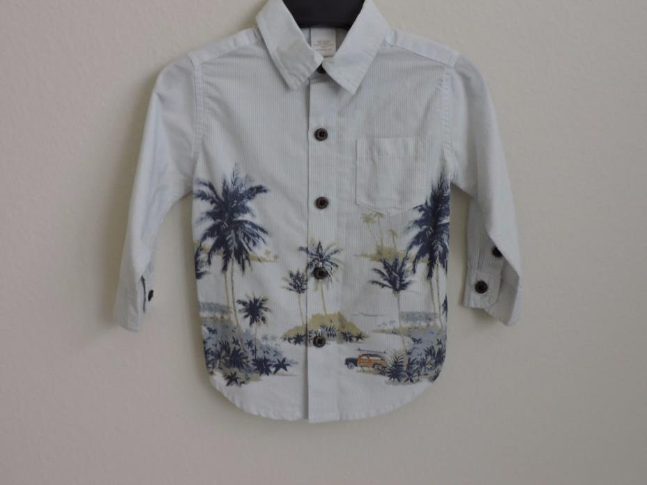 Janie & Jack Palm Tree Hawaii Beach Woody Wagon Button Down Shirt Baby 6-12M