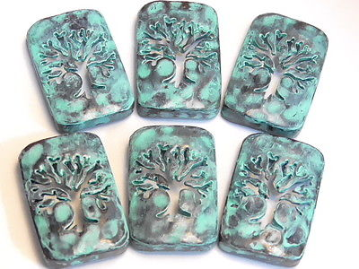 6 - 2 HOLE SLIDER BEAD TREE OF LIFE CUT OUT SILHOUETTE AGED COPPER PATINA FINISH